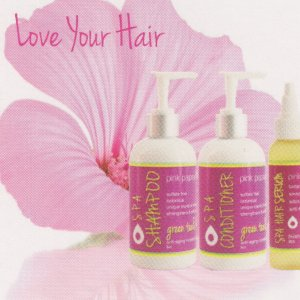 Love Your Hair Collection - Green Tea & Kukui Anti-aging Shampoo & Conditioner, Sea & Sun Finishing Serum.  The shampoo is really the star